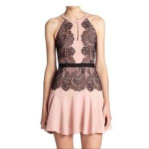 BCBG MaxAzria Leyla Blush Sleeveless Halter Dress